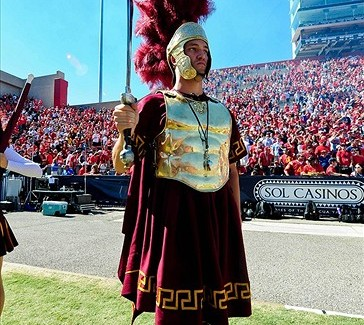 Oct. 27, 2012; Tucson, AZ, USA; The USC Trojans mascot looks on during the first half against the Arizona Wildcats at Arizona Stadium. Mandatory Credit: Matt Kartozian-USA TODAY Sports