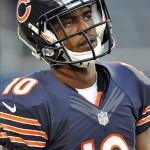 Aug 29, 2013; Chicago, IL, USA; Chicago Bears wide receiver Marquess Wilson (10) warms up before the game against the Cleveland Browns at Soldier Field. Mandatory Credit: Rob Grabowski-USA TODAY Sports
