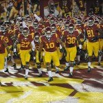 September 7, 2013; Los Angeles, CA, USA; Southern California Trojans linebacker Hayes Pullard (10) leads the Trojans before playing against the Washington State Cougars at the Los Angeles Memorial Coliseum. Mandatory Credit: Gary A. Vasquez-USA TODAY Sports