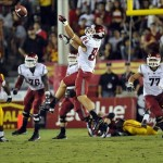 September 7, 2013; Los Angeles, CA, USA; Washington State Cougars wide receiver River Cracraft (84) misses catching a pass against the Southern California Trojans during the first half at the Los Angeles Memorial Coliseum. Mandatory Credit: Gary A. Vasquez-USA TODAY Sports