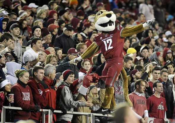 Oct 12, 2013; Pullman, WA, USA; Washington State Cougars mascot Butch cheers with the student section against the Oregon State Beavers during the first half at Martin Stadium. Mandatory Credit: James Snook-USA TODAY Sports
