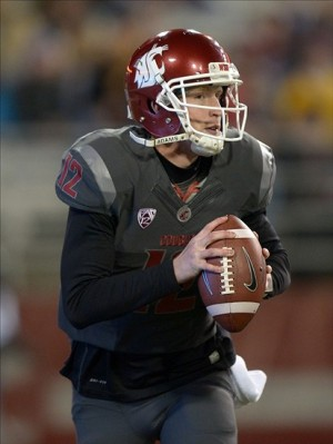Oct 31, 2013; Pullman, WA, USA; Washington State Cougars quarterback Connor Halliday (12) throws a pass against the Arizona State Sun Devils at Martin Stadium. Mandatory Credit: Kirby Lee-USA TODAY Sports