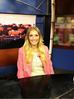 Bridgette Larsen at the news desk.