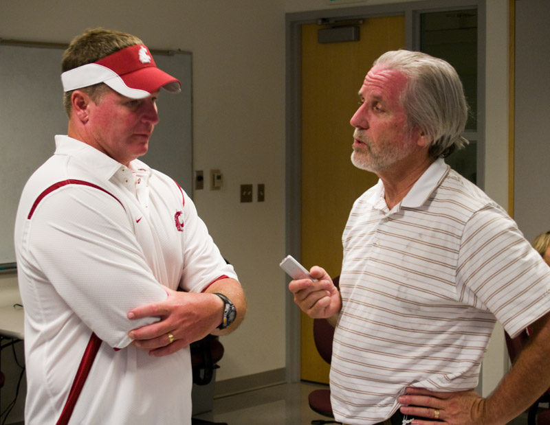 Lew Wright interviewing Coach Chris Ball post game after WSU loss to Stanford on September 5, 2009 PHOTO: Lewis Wright, Jr., All Rights Reserved