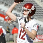 Nov 16, 2013; Tucson, AZ, USA; Washington State Cougars quarterback Connor Halliday (12) warms up before the first quarter against the Arizona Wildcats at Arizona Stadium. Mandatory Credit: Casey Sapio-USA TODAY Sports