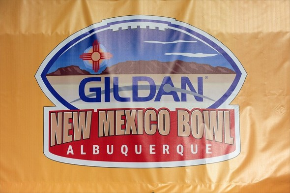 Dec. 17, 2011; Albuquerque, NM, USA; Detailed view of the New Mexico Bowl logo prior to the game between the Temple Owls against the Wyoming Cowboys at University Stadium. Mandatory Credit: Mark J. Rebilas-USA TODAY Sports