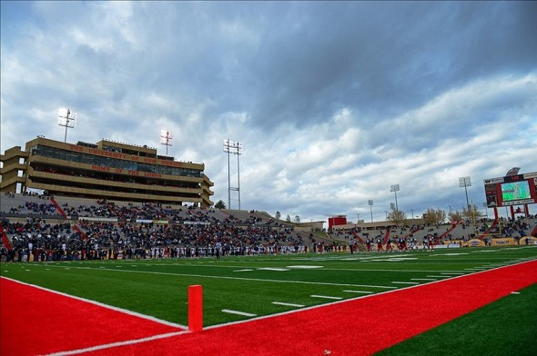 Dec. 15, 2012; Albuquerque, NM, USA; Overall view of University Stadium during the 2012 New Mexico Bowl between the Arizona Wildcats against the Nevada Wolf Pack. Arizona defeated Nevada 49-48. Mandatory Credit: Mark J. Rebilas-USA TODAY Sports