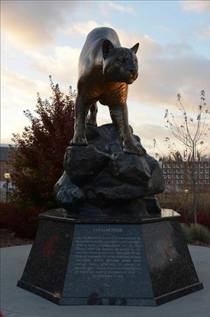 Oct 31, 2013; Pullman, WA, USA; General view of the Cougar Pride statute before the game between the Arizona State Sun Devils and Washington State Cougars at Martin Stadium. Mandatory Credit: Kirby Lee-USA TODAY Sports