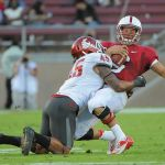 October 27, 2012; Stanford, CA, USA; Stanford Cardinal quarterback Josh Nunes (6) is sacked by Washington State Cougars linebacker Chester Su