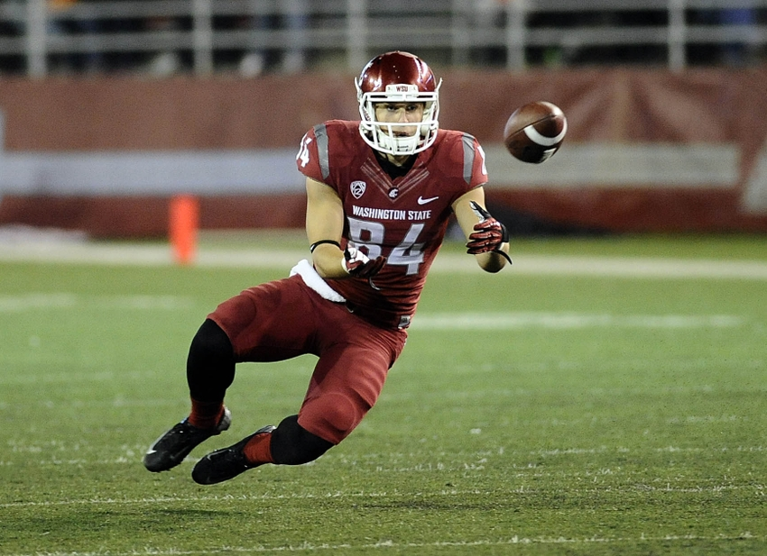 Oct 12, 2013; Pullman, WA, USA; Washington State Cougars wide receiver River Cracraft (84) makes a catch against the Oregon State Beavers during the second half at Martin Stadium. The Beavers beat the Cougars 52-24. Mandatory Credit: James Snook-USA TODAY Sports