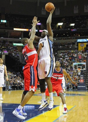 Mar 18, 2012; Memphis, TN, USA; Memphis Grizzlies power forward Zach Randolph (50) shoots the ball over Washington Wizards power forward Trevor Booker (35) during the second half at the FedEx Forum. Memphis Grizzlies defeated the Washington Wizards 97-92. Mandatory Credit: Spruce Derden-USA TODAY Sports