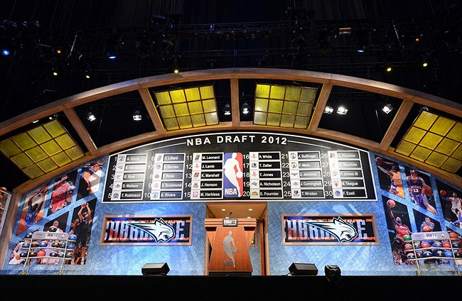 June 28, 2012; Newark, NJ, USA; A general view of the first round draft board at the conclusion of the first round of the 2012 NBA Draft at the Prudential Center. Mandatory Credit: Jerry Lai-USA TODAY Sports