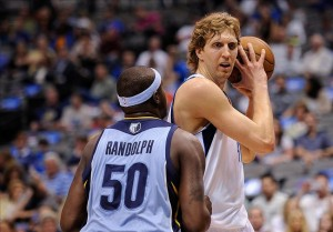 Apr 15, 2013; Dallas, TX, USA; Memphis Grizzlies power forward Zach Randolph (50) guards Dallas Mavericks power forward Dirk Nowitzki (41) during the game at the American Airlines Center. Mandatory Credit: Jerome Miron-USA TODAY Sports