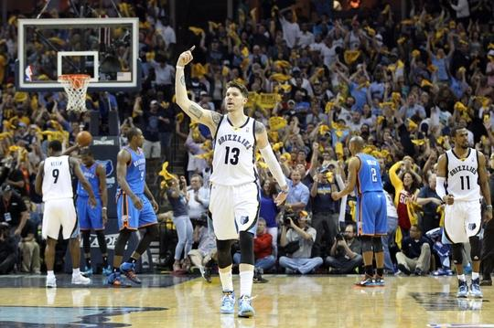 Apr 26, 2014; Memphis, TN, USA; Memphis Grizzlies guard Mike Miller (13) reacts after hitting a three point shot against the Oklahoma City Thunder in game four of the first round of the 2014 NBA Playoffs at FedExForum. Thunder defeated the Grizzlies 92-89. Mandatory Credit: Nelson Chenault-USA TODAY Sports