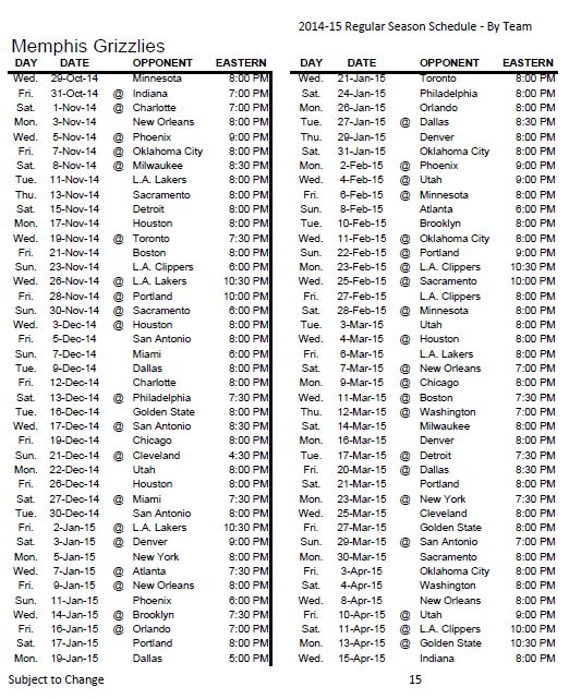 2014-2015 Memphis Grizzlies schedule (USA Today).