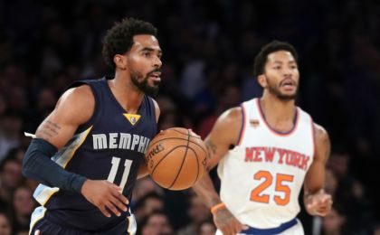 Oct 29, 2016; New York, NY, USA; Memphis Grizzlies guard Mike Conley (11) advances the ball during the first quarter against the New York Knicks at Madison Square Garden. Mandatory Credit: Anthony Gruppuso-USA TODAY Sports
