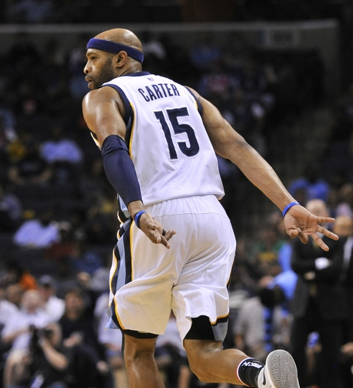 Nov 8, 2016; Memphis, TN, USA; Memphis Grizzlies guard Vince Carter (15) celebrates after scoring against the Denver Nuggets during the first half at FedExForum. Mandatory Credit: Justin Ford-USA TODAY Sports