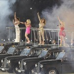 Aug 12, 2012; London, United Kingdom; The Spice Girls perform on cabs during the Closing Ceremony for the London 2012 Olympic Games at Olympic Stadium. Mandatory Credit: John David Mercer-USA TODAY Sports