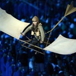 Aug 12, 2012; London, United Kingdom; Performers in home made flying machines during the Closing Ceremony for the London 2012 Olympic Games at Olympic Stadium. Mandatory Credit: John David Mercer-USA TODAY Sports