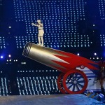 Aug 12, 2012; London, United Kingdom; Eric Idle climbs on a cannon during the Closing Ceremony for the London 2012 Olympic Games at Olympic Stadium. Mandatory Credit: Rob Schumacher-USA TODAY Sports