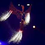 Aug 12, 2012; London, United Kingdom; A phoenix defends into the stadium bearing Darcy Bussell , prima ballerina to dance during the Closing Ceremony for the London 2012 Olympic Games at Olympic Stadium. Mandatory Credit: Andrew Weber-USA TODAY Sports