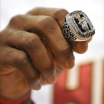 Oct 30, 2012; Miami, FL, USA; Detail view of Miami Heat small forward LeBron James (not pictured) NBA championship ring before a game against the Boston Celtics at American Airlines Arena. Mandatory Credit: Steve Mitchell-US PRESSWIRE