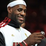 Oct 30, 2012; Miami, FL, USA; Miami Heat small forward LeBron James (6) smiles after receiving his NBA championship ring before a game against the Boston Celtics at American Airlines Arena. Mandatory Credit: Steve Mitchell-US PRESSWIRE