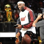 Oct 30, 2012; Miami, FL, USA; Miami Heat small forward LeBron James (6) reacts after receiving his NBA championship ring before a game against the Boston Celtics at American Airlines Arena. The Heat won 120-107. Mandatory Credit: Steve Mitchell-US PRESSWIRE