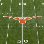Nov 10, 2012; Austin, TX, USA; A general view of the Texas Longhorns logo on the field in honor of former head coach Darrell Royal (not pictured) before a game against the Iowa State Cyclones at Darrell K Royal-Texas Memorial Stadium. Mandatory Credit: Brett Davis-US PRESSWIRE