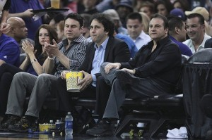 April 26, 2012; Sacramento, CA, USA; Sacramento Kings owners George Maloof and Gavin Maloof sit court side during the first quarter against the Los Angeles Lakers at Power Balance Pavilion. Mandatory Credit: Kelley L Cox-USA TODAY Sports