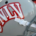 Sep 14, 2012; Las Vegas, NV, USA; A detailed view of a UNLV Rebels helmet before a game against the Washington State Cougars at Sam Boyd Stadium. Mandatory Credit: Jake Roth-USA TODAY Sports