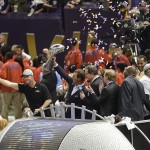 Feb 3, 2013; New Orleans, LA, USA; Baltimore Ravens owner Steve Bisciotti holds the vince lombardi trophy as head coach John Harbaugh (left) reacts after defeating the San Francisco 49ers 34-31 in Super Bowl XLVII at the Mercedes-Benz Superdome. Mandatory Credit: Richard Mackson-USA TODAY Sports