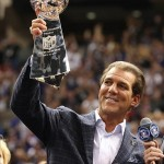 Feb 3, 2013; New Orleans, LA, USA; Baltimore Ravens owner Steve Bisciotti celebrates with the Vince Lombardi Trophy after defeating the San Francisco 49ers 34-31 in Super Bowl XLVII at the Mercedes-Benz Superdome. Mandatory Credit: Matthew Emmons-USA TODAY Sports