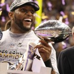 Feb 3, 2013; New Orleans, LA, USA; Baltimore Ravens inside linebacker Ray Lewis celebrates with the Vince Lombardi Trophy after defeating the San Francisco 49ers 34-31 in Super Bowl XLVII at the Mercedes-Benz Superdome. Mandatory Credit: Matthew Emmons-USA TODAY Sports