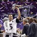 Feb 3, 2013; New Orleans, LA, USA; Baltimore Ravens quarterback Joe Flacco hoists the Vince Lombardi Trophy after defeating the San Francisco 49ers in Super Bowl XLVII at the Mercedes-Benz Superdome. Mandatory Credit: Derick E. Hingle-USA TODAY Sports