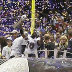 Feb 3, 2013; New Orleans, LA, USA; Baltimore Ravens free safety Ed Reed (20) celebrates with the Vince Lombardi Trophy in Super Bowl XLVII at the Mercedes-Benz Superdome. Mandatory Credit: Chuck Cook-USA TODAY Sports