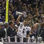 Feb 3, 2013; New Orleans, LA, USA; Super Bowl MVP Joe Flacco raises the Vince Lombardi Trophy after winning Super Bowl XLVII at the Mercedes-Benz Superdome. Mandatory Credit: Chuck Cook-USA TODAY Sports