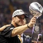 Feb 3, 2013; New Orleans, LA, USA; Baltimore Ravens head coach John Harbaugh holds out the Vince Lombardi Trophy after defeating the San Francisco 49ers in Super Bowl XLVII at the Mercedes-Benz Superdome. Mandatory Credit: Mark J. Rebilas-USA TODAY Sports