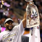 Feb 3, 2013; New Orleans, LA, USA; Baltimore Ravens inside linebacker Ray Lewis hoists the Vince Lombardi Trophy after defeating the San Francisco 49ers in Super Bowl XLVII at the Mercedes-Benz Superdome. Mandatory Credit: Mark J. Rebilas-USA TODAY Sports