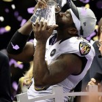 Feb 3, 2013; New Orleans, LA, USA; Baltimore Ravens free safety Ed Reed kisses the Vince Lombardi Trophy after defeating the San Francisco 49ers in Super Bowl XLVII at the Mercedes-Benz Superdome. Mandatory Credit: Mark J. Rebilas-USA TODAY Sports