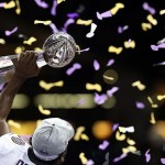 Feb 3, 2013; New Orleans, LA, USA; Baltimore Ravens free safety Ed Reed hoists the Vince Lombardi Trophy after defeating the San Francisco 49ers in Super Bowl XLVII at the Mercedes-Benz Superdome. Mandatory Credit: Mark J. Rebilas-USA TODAY Sports
