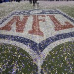 Feb 3, 2013; New Orleans, LA, USA; General view of the NFL logo after Super Bowl XLVII between the San Francisco 49ers and the Baltimore Ravens at the Mercedes-Benz Superdome. Mandatory Credit: John David Mercer-USA TODAY Sports