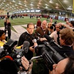 Mar 13, 2013; Tuscaloosa, AL, USA; Alabama Crimson Tide coach Nick Saban fields questions from the media during Alabama pro day at the Mal M. Moore Athletic Facility. Mandatory Credit: Kelly Lambert-USA TODAY Sports