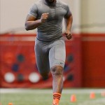 Mar 13, 2013; Tuscaloosa, AL, USA; Alabama Crimson Tide linebacker Nico Johnson runs the 40-yard dash during Alabama pro day at the Mal M. Moore Athletic Facility. Mandatory Credit: Kelly Lambert-USA TODAY Sports