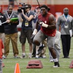 Mar 13, 2013; Tuscaloosa, AL, USA; Alabama Crimson Tide offensive lineman Chance Warmack runs a drill during Alabama pro day at the Mal M. Moore Athletic Facility. Mandatory Credit: Kelly Lambert-USA TODAY Sports