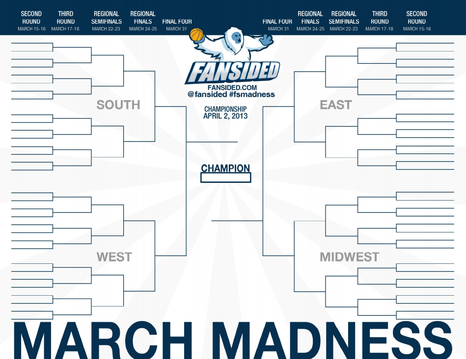 NCAA Tournament Printable Bracket 2013: Join the Madness With FanSided