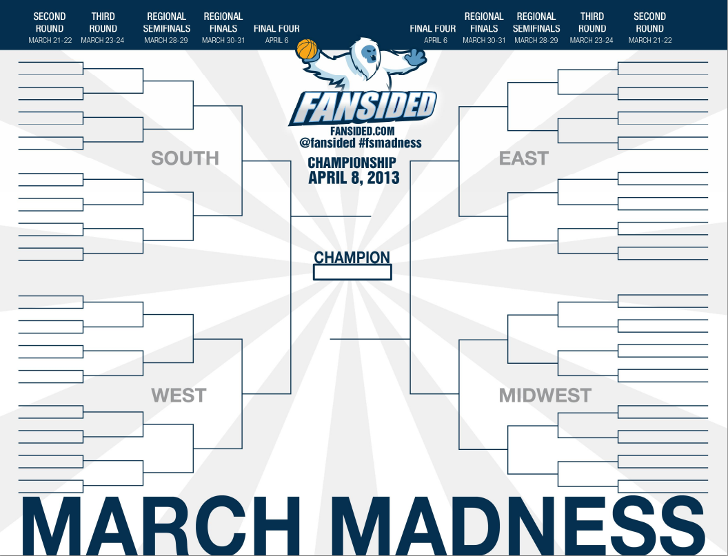 Printable 2013 NCAA Bracket: Fill Out Your March Madness Bracket Live ...
