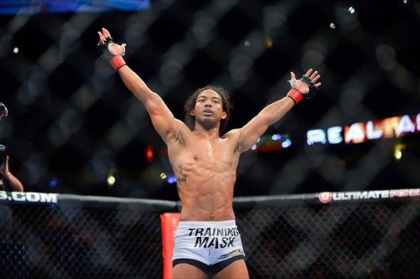 August 11, 2012; Denver, CO, USA; Benson Henderson reacts after defeating Frankie Edgar (not pictured) during UFC 150 at the Pepsi Center. Mandatory Credit: Ron Chenoy-USA TODAY Sports