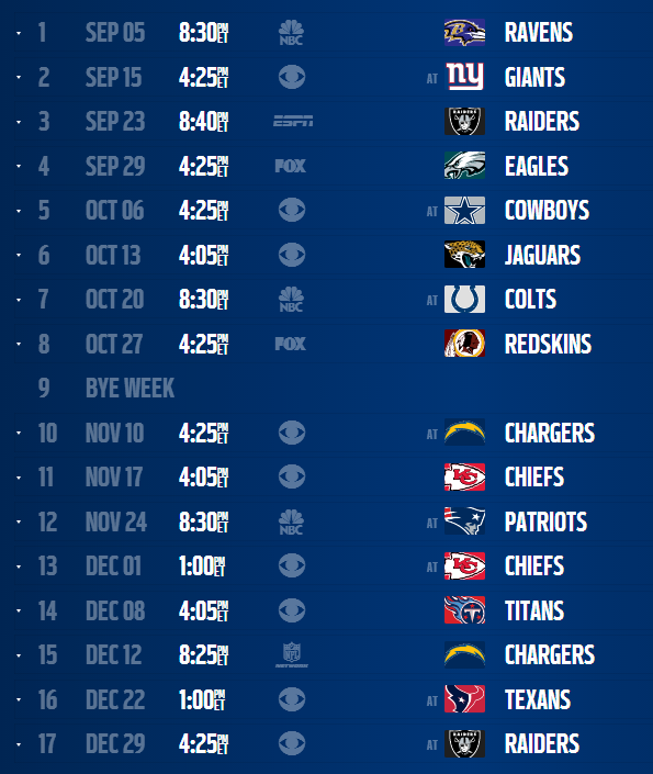 Denver Broncos 2013 Schedule