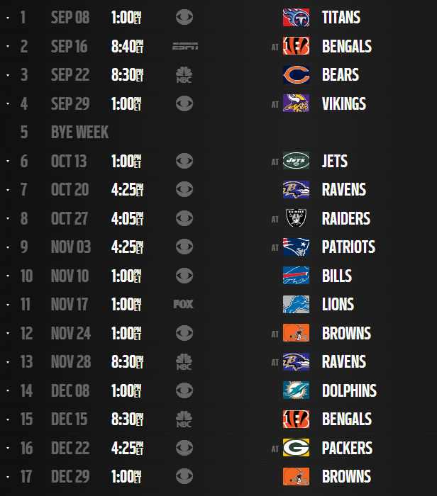 steelers schedule look like for this season here it is
